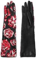 Lanvin Shiny Floral Jacquard Gloves