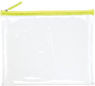 Container Store Large Green Zippered Clear Pouch