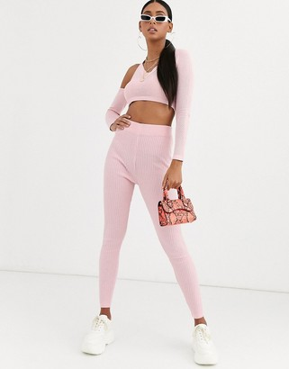 Asos DESIGN co-ord knitted leggings with mesh stitch detail in pink