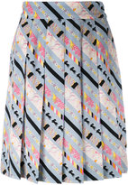 Marc Jacobs patterned stripe pleated skirt - women - Silk - 4