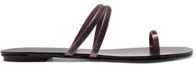 Pedro Garcia Sula Swarovski Crystal-embellished Satin And Leather Sandals - Black