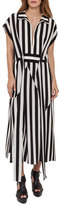 Akris Striped Zip-Front Shirtdress, Black/White