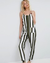 Asos LOUNGE Khaki Stripe Jumpsuit