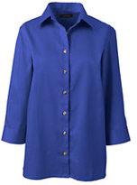 Lands' End Women's 3/4 Sleeve Performance Twill Shirt-Dark Cobalt Blue