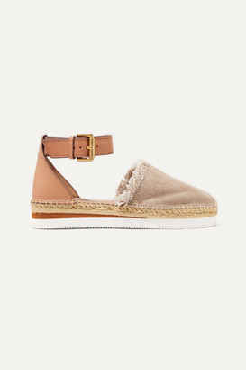 See by Chloe Leather And Canvas Platform Espadrilles - Mushroom