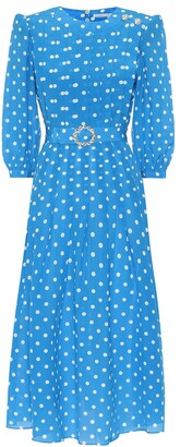 Alessandra Rich Embellished polka-dot silk dress