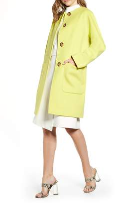 Fleurette Collarless Wool Car Coat