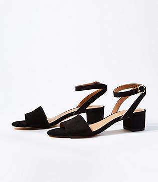 LOFT Ankle Strap Low Block Heel Sandals