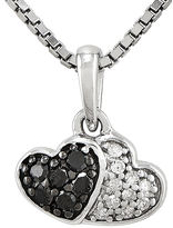 FINE JEWELRY 1/8 CT. T.W. White and Color-Enhanced Black Diamond Sterling Silver Double Heart Pendant Necklace