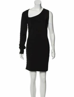 Balmain One-Sleeve Mini Dress Black