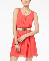 BCX Juniors' Pleated Belted Shift Dress