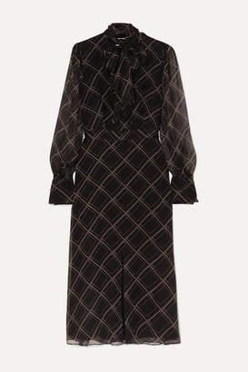 Equipment Calanne Pussy-bow Printed Silk-georgette Midi Dress - Black