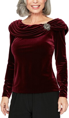 Alex Evenings Brooch Detail Long Sleeve Velvet Top