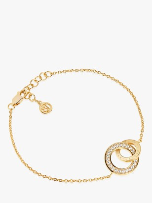 Sif Jakobs Jewellery Cubic Zirconia Gold Plated Vermilion Interlinked Ring Chain Bracelet, Gold