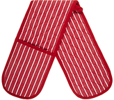 John Lewis Striped Double Oven Gloves, Red / White