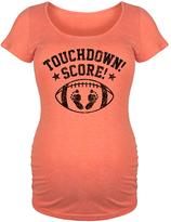 Orange 'Touchdown Score' Football Maternity Scoop Neck Tee