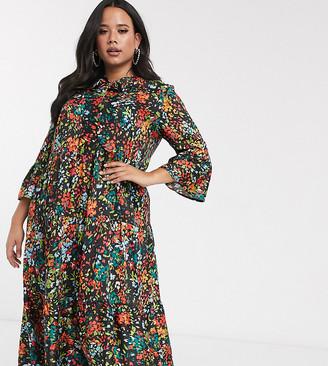 Twisted Wunder Plus smock midi dress in floral print-Multi