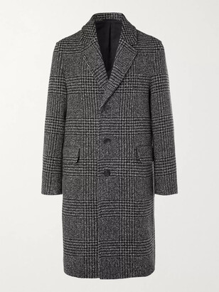 Mr P. Prince of Wales Checked Virgin Wool-Blend Overcoat - Men - Black