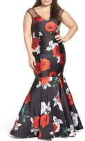 Mac Duggal Plus Size Women's Rose Print Mermaid Gown