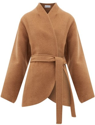 Raey Collarless Belted Camel-hair Coat - Womens - Camel