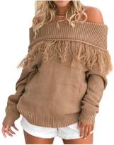 Lettre d'amour Women Off Shoulder Long Sleeved Tassel Knitted Sweater Top Blouse Plus