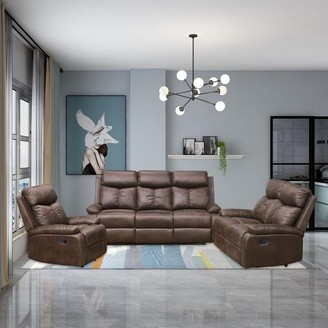 Overstock Vanity Art Brown Microfiber 3-Piece Reclining Loveseat with One Motion Sofa 1 Motion Loveseat 1 Motion Chair Living Room Set