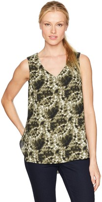 Jones New York Women's Classic Tie Dye PRT V-Neck Top
