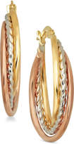 Macy's Tri-Color Triple Hoop Earrings in Italian 14k Gold and White and Rose Rhodium-Plate