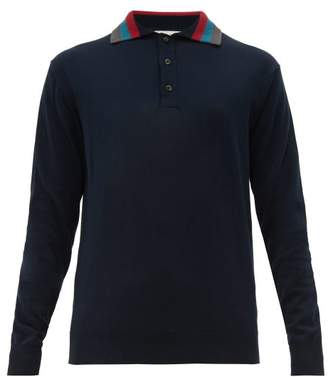 Etro Striped-collar Knitted Polo Shirt - Mens - Blue