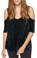 Sanctuary Drea Velvet Cold-Shoulder Top