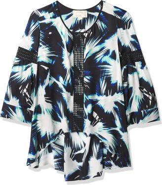Nicole Miller Women's Fan Burst Print Hi-lo Trim Shirt