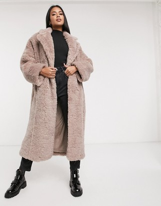ASOS DESIGN faux fur hero longline maxi coat in mauve