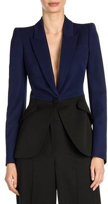 Alexander McQueen Bi-Color One-Button Jacket