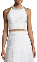 Alice + Olivia Tru Sleeveless Embellished Crop Top, White