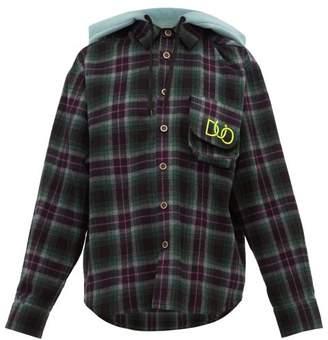 Natasha Zinko Hooded Checked Cotton Shirt - Womens - Green Multi