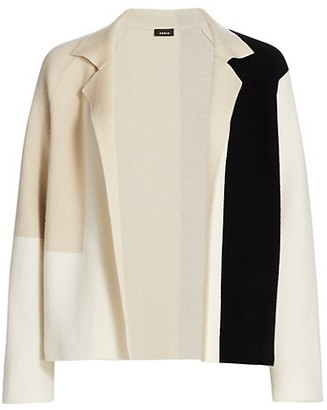 Akris Reversible Patchwork Cashmere Knit Cardigan