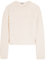 Miu Miu Embellished Ribbed Cashmere Sweater - Pastel pink