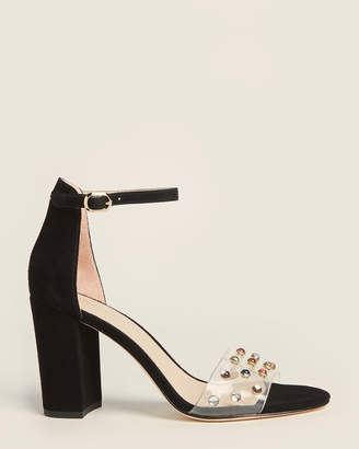 Kate Spade Black & Clear Marci Embellished Suede Sandals