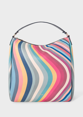 Women's 'Spring Swirl' Print Leather Hobo Bag
