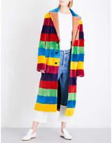 Loewe Ladies Black Rainbow-Striped Shearling Coat