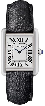 Cartier Tank Solo Small Stainless Steel & Black Leather-Strap Watch