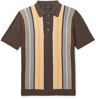 Beams Slim-Fit Striped Knitted Cotton Polo Shirt