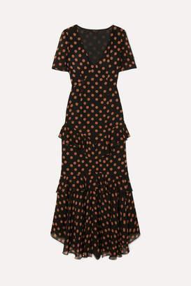 De La Vali Juliette Ruffled Polka-dot Chiffon Maxi Dress - Black