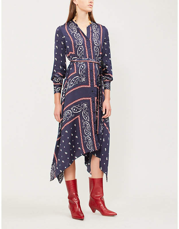 Sandro Science paisley-patterned satin dress