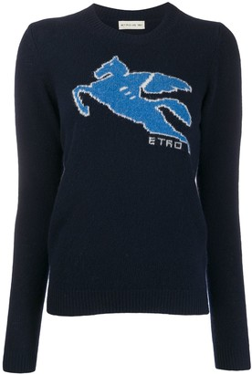 Etro Long Sleeve Ribbed-Knit Logo Jumper