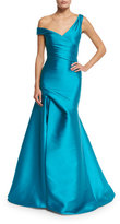 Monique Lhuillier Off-the-Shoulder Draped Mikado Gown, Aquamarine