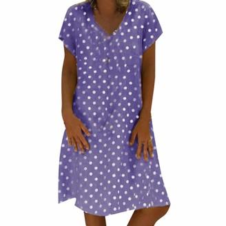 Tuduz Dress Dress TUDUZ Sale Clearance Women Summer Plus Size Vintage Print A Line Mini Dress Casual Loose Short Sleeve V Neck Beach Dress(C Blue UK-20/CN-3XL)