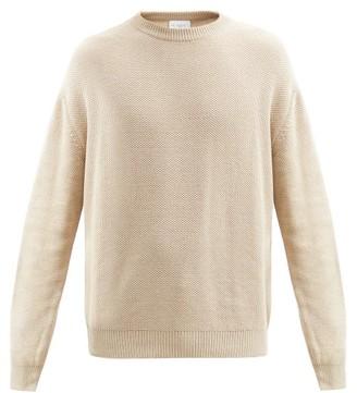 Raey Crew-neck Cotton-pique Sweater - Mens - Light Grey