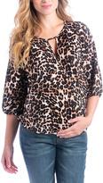Tan & Black Leopard Kylie Maternity/Nursing Top