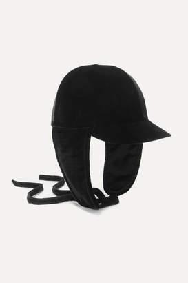 Miu Miu Bow-detailed Cotton-velvet Cap - Black